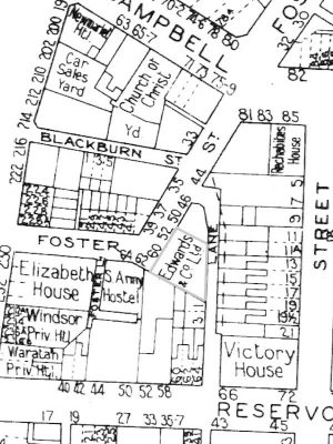 Heritage assessment reviews and conservation management strategy for HIS Industrial 56 60 Foster Street Surry Hills former Edwards Co Warehousedetail of building surveyors detal sheet 1949 1972
